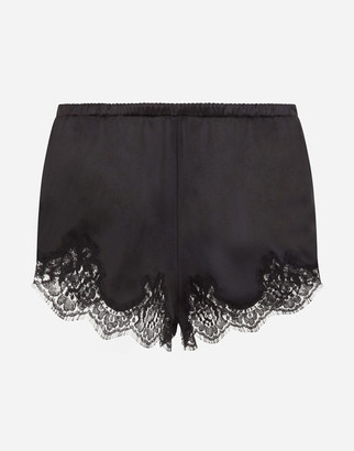 Dolce & Gabbana Satin Lingerie Shorts With Lace