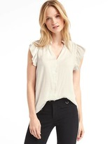Gap Flutter sleeve split neck top