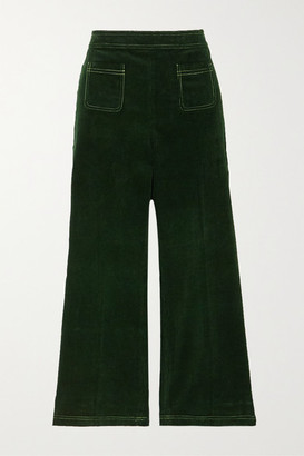 ALEXACHUNG Cotton-corduroy Straight-leg Pants - Dark green