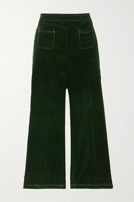 ALEXACHUNG Cotton-corduroy Straight-leg Pants - Dark green