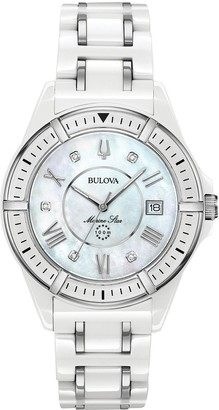 Bulova Mother of Pearl and Diamond Set Date Dial White Ceramic and Silver Detail Bracelet Ladies Watch