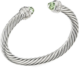 David Yurman 7mm Cable Bracelet with Diamonds & Prasiolite