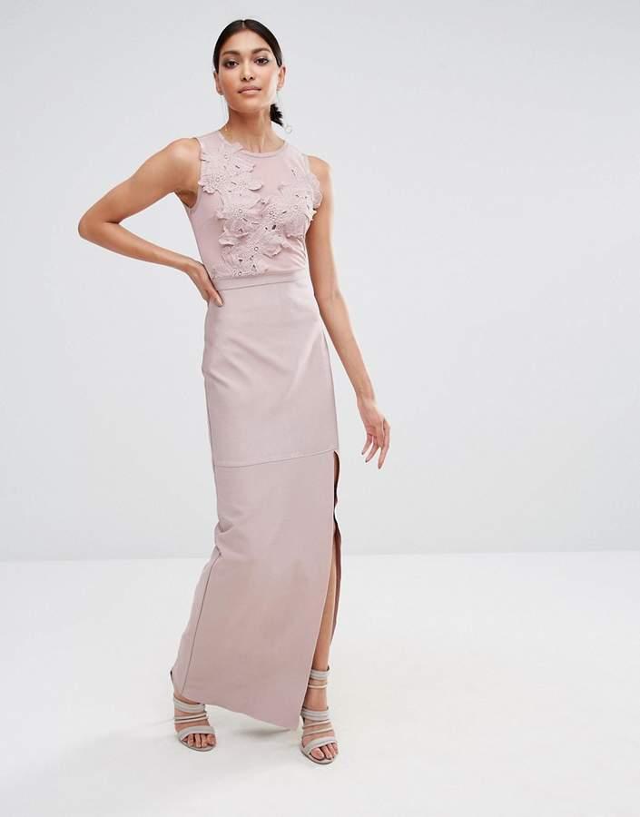Missguided Premium Bandage Lace Applique Maxi Dress