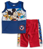 Nannette Boys 2-7 Little Boys Mickey Mouse Club House Mesh Tank Top and Shorts Set