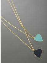 Danielle Stevens turquoise and navy enamel heart necklace
