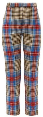 Charles Jeffrey Loverboy Tartan Wool Trousers - Womens - Beige Multi