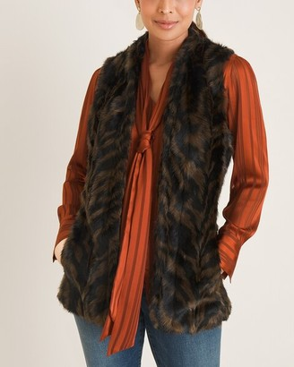 Chico's Tiger-Print Faux-Fur Vest