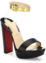 Christian Louboutin Cherry Patent Leather & PVC Ankle-Strap Sandals