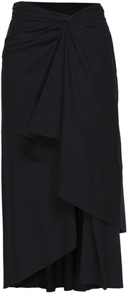 A.L.C. Diller Twist-front Stretch-cotton Poplin Midi Skirt