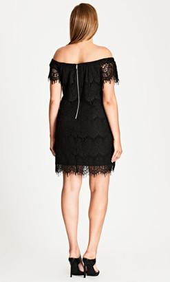 City Chic Lace Off-Shoulder Shift Dress - Black