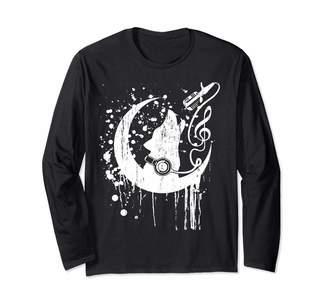 Howling Dog Half Moon Musician Art Design Long Sleeve T-Shirt