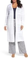 Foxcroft Plus Size Women's Shadow Stripe Cotton Blend Cardigan
