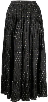 Mes Demoiselles Polka Dot Print Creased Skirt