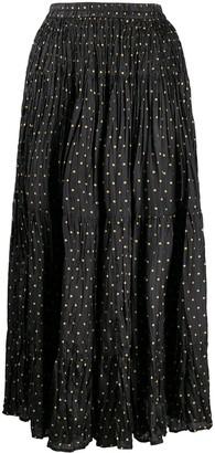 Mes Demoiselles Polka Dot Print Creased Skirt