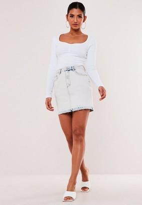 Missguided Light Blue Acid Wash Drop Hem Denim Skirt