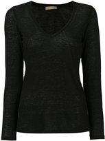 Cruciani v-neck top - women - Linen/Flax - 42