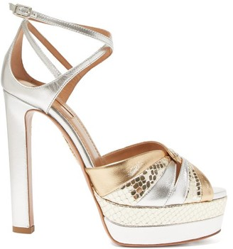 Aquazzura La Di Da 130 Platform Metallic-leather Sandals - Gold