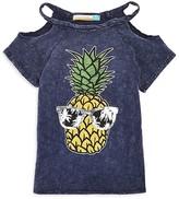Vintage Havana Girls' Pineapple Cold Shoulder Tee - Sizes S-XL