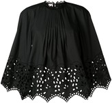 Giamba gathered embroidered swing blouse