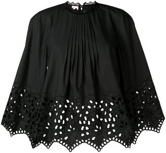 Giamba gathered embroidered swing blouse
