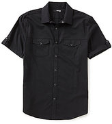 Murano Short-Sleeve Slim-Fit Solid Snap Shirt