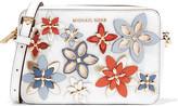 MICHAEL Michael Kors Flowers Appliquéd Textured-leather Shoulder Bag - White
