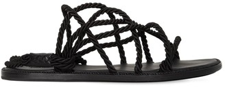Ann Demeulemeester Leather Sandals W/ Satin Ropes