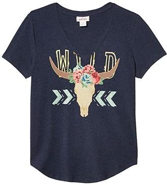Ariat Wild Steer T-Shirt (Navy Heather) Women's Clothing