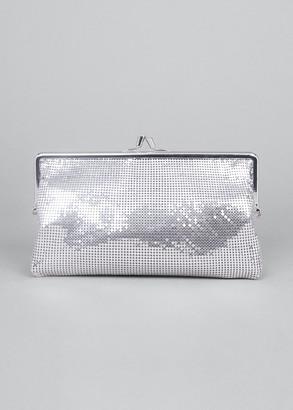 Paco Rabanne Metallic Aluminum Kiss-Lock Clutch Bag