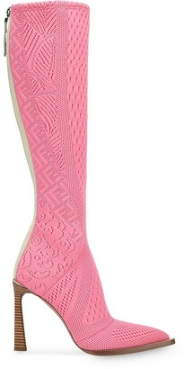 Fendi FFrame jacquard pointed toe boots