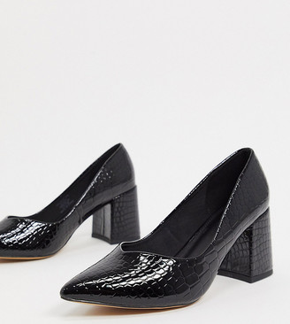 ASOS DESIGN Wide Fit Switch mid heeled court shoes in black croc