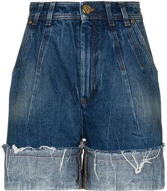 Balmain High Waist Turn Up Denim Shorts