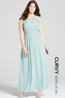 Little Mistress Curvy Sage Empire Line Maxi Dress