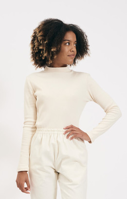 Shio Cream Short Turtleneck Longsleeve Rib Jersey - S/M | cotton | cream - Cream