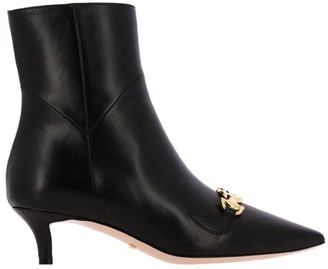 Gucci Zumi Ankle Boots In Nappa Leather With Bicolour Gg