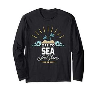 Off To Sea New Places Tropical Beach Palm Tree Sunset Long Sleeve T-Shirt
