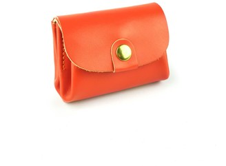 Village Leathers Accordion Leather Coin Purse - Orange