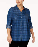 Style&Co. Style & Co Plus Size Plaid Denim Shirt, Created for Macy's