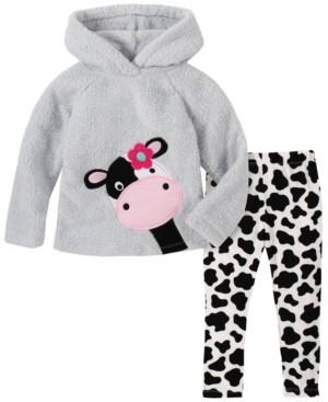 Kids Headquarters Little Girl 2-Piece Hooded Fleece Top with Cow Print Legging Set