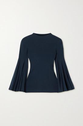 Oscar de la Renta Pointelle-trimmed Ribbed Silk-blend Sweater - Navy