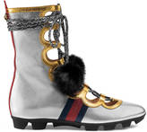 Gucci Metallic leather and mink high sneaker