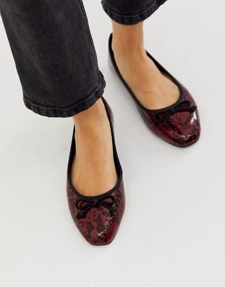 Park Lane square toe ballets in red snake