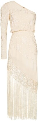 Johanna Ortiz Sevillana Tan Sonriente fringed silk dress