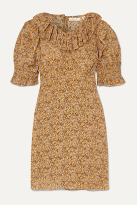 DÔEN Baudoin Ruffled Floral-print Silk Crepe De Chine Mini Dress - Mustard