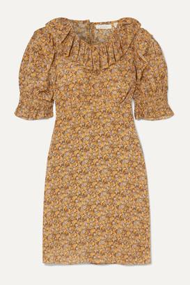 Dôen DOEN - Baudoin Ruffled Floral-print Silk Crepe De Chine Mini Dress - Mustard