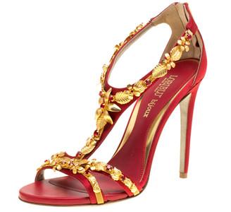 Loriblu Bijoux Red Satin Floral Embellished Crystal Studded Sandals Size 40