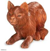 Artisan Crafted Wood Sculpture, 'Kitty Cat Hunts'