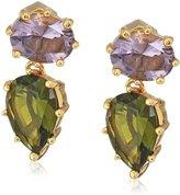 Nicole Miller Gypset Double Stone Gold Drop Earrings