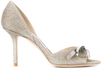 Jimmy Choo Saphine 85mm glitter-embellished sandals