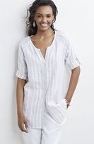 J. Jill Textured-Stripe Linen Shirt